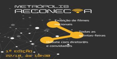 Sobre um fundo preto que simboliza uma constelação, símbolos de conexões e a descrição do projeto