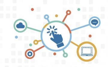 Logomarca do auxílio inclusão digital, representada por pontos de conexão em que tem um dedo tocando tela ao centro e, ao redor, outros símbolos ligados à computação e à conexão em rede