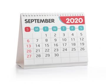 Calendário mostrando o mês de setembro de 2020