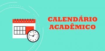 """Imagem de um calendário com um relógio, escrito """"calendário acadêmico"""""""