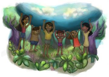 Ilustração mostra crianças e adultos de traços indígenas, em meio à natureza, segurando o globo terrestre - ou o céu