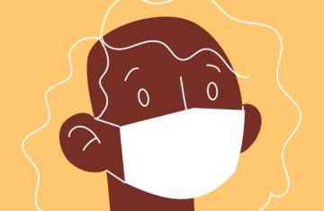 Ilustração de mulher negra de máscara