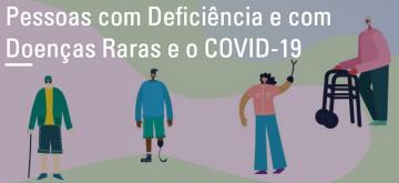 Texto: Pessoas com Deficiência e com Doenças Raras e a COVID-19. Imagem: ilustração de pessoas com diversos tipos de deficiências