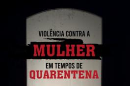 Parte da capa da cartilha Violência contra a mulher em tempos de quarentena, com o título da cartilha