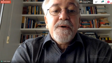 Reitor da Ufes, Paulo Vargas, fala à imprensa em videochamada