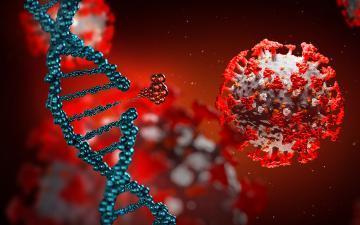 Foto do coronavírus e do DNA