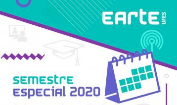 Imagem com um calendário e uma antena de conexão, com os escritos: Earte Ufes, semestre especial 2020