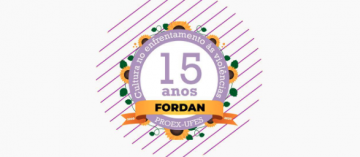 Guirlanda com os escritos: 15 anos Fordan - ProEx - Ufes - Cultura no enfrentamento às violências