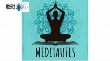 ícone de uma pessoa meditando, com mandala ao fundo, escrito Meditaufes