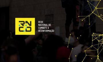 Sobre um fundo preto, com conexões, a logomarca da RNCD - Rede Nacional de Combate à Desinformação