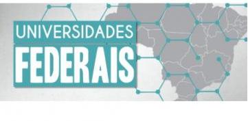 Mapa do Brasil em cinza, com pontos de conexão interligados em verde, e o escrito Universidades Federais, em branco sobre fundo verde